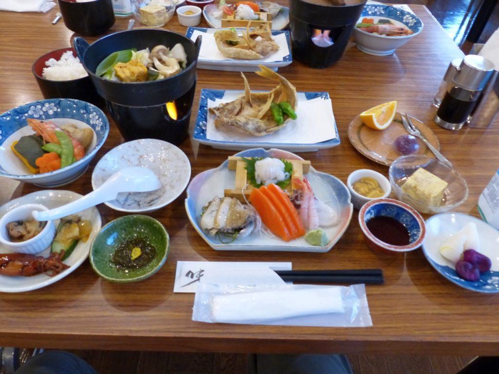 奥尻海鮮の夕食