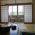 松前城が目の前に見える和室