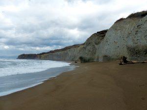 異世界のような白い岩壁が波打ち際沿いに続く