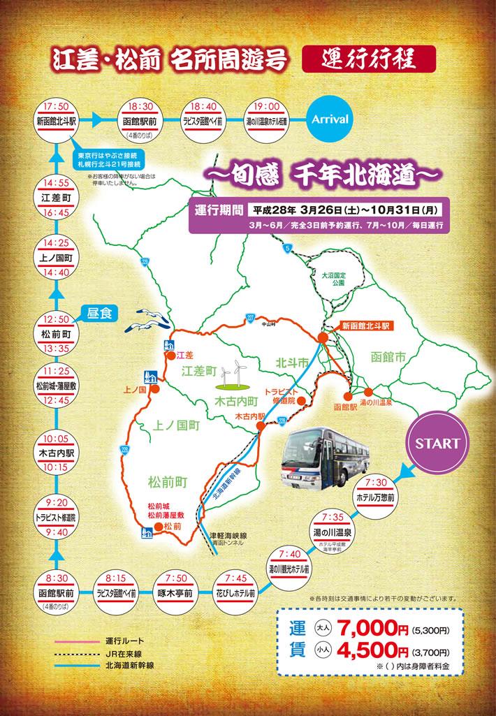 定期観光バス 江差・松前名所周遊号 運行行程